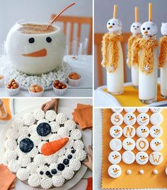 Snowman marshmallows (love this idea using a food coloring pen), eggnog bowl (they painted with chocolate, but I think I'll use vinyl like I did for my monster pedestal candy dishes), pull-a-part cupcakes and milk glasses from Better Homes and Gardens.