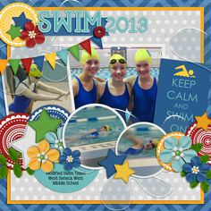swim-team-2013 - like the colours, circles, bunting and postcard style graphic text on this. Scrapbook Paper Crafts, Kids Scrapbook, Scrapbook Cards, Scrapbook Page Layouts, Scrapbook Sketches, Scrapbook Templates, Pool Activities, Swim Team, Sports Page