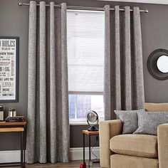 Vermont Monochrome Eyelet Lined Curtains | Dunelm - £39.99