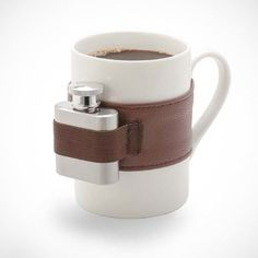 Extra Shot Coffee Mug. Add a little kick to your coffee with the convenient mini hip flask. This coffee mug comes equipped with stainless steel shot flask in a deluxe leatherette belt. Flask and belt are removable I Love Coffee, Coffee Break, My Coffee, Coffee Shop, Coffee Cups, Coffee Lovers, Morning Coffee, Coffee Flask, Monday Coffee