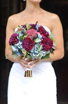 Bella Fiori - antique teal hydrangea with burgundy dahlias and sedum