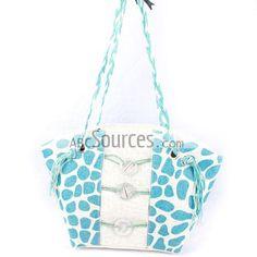 China Wholesale Blue Stone Texture Straw Handbags, Shoulder Handbag With Long String Handle