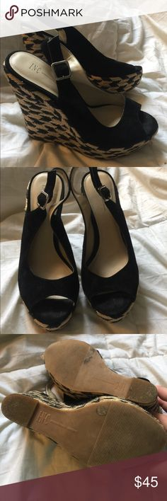 Inc international Black and cream wedges Inc international Black and cream wedges. Leather upper black suede wedges. Super sexy worn once. Had a baby and they are now to small 8M INC International Concepts Shoes Wedges