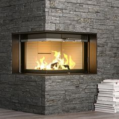 Rais Visio2 Wood Burning Built-In Corner Stove
