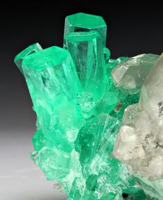 Beryl var. Emerald with Calcite; Boyaca Department, Colombia