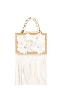 WWW.LAURAFED.COM #bag #cluch #wood #fashion #spring #summer #luxury #accessories #LAURAFED #bride #wedding #white #flower