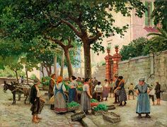 Paul Gustave Fischer (1860-1934): Vegetable Market in Vomero, Naples, 1922, Private Collection