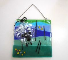 Fused Glass Art A Sheep in the Field  Wall Art by YaliGlassArt, $48.00