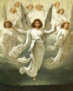 """Suddenly a great company of the heavenly host appeared with the angel, praising God and saying, """"Glory to God in the highest heaven, and on earth peace to those on whom his favor rests. Angel Protector, Entertaining Angels, I Believe In Angels, Angel Pictures, Bible Pictures, Angels In Heaven, Heavenly Angels, Angels Among Us, Guardian Angels"""