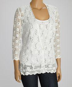 e1025bd3a33 R M Richards White Sequin Lace Top   Jacket - Plus