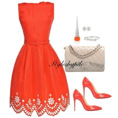 Orange Slice Cut Out !!! by stylesbypdc on Polyvore featuring Oscar de la Renta, Christian Louboutin, Chanel and Gucci