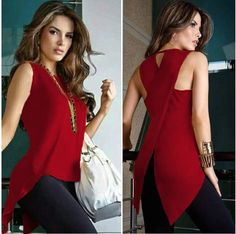 Sleeveless Women's Summer Blouse Casual Slim Slit Irregular Plus Size Shirt Tops Solid 3XL Chiffon O Neck Ladies Blouses Mujer