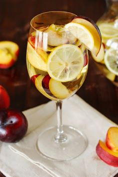 White sangria with fresh summer fruit, the perfect summer sipper.