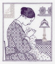 The Embroideress - blackwork kit by Classic Embroidery - An attractive picture of a Victorian lady sewing in her parlour. Blackwork Patterns, Blackwork Embroidery, Cross Stitch Embroidery, Hand Embroidery Designs, Embroidery Patterns, Cross Stitch Kits, Cross Stitch Patterns, Art Minecraft, Art Du Fil
