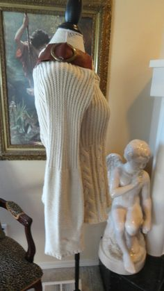 Irish Cream Curvacious Ladies Sweater Cable Knit Tunic Koko Romanov Leather M | eBay