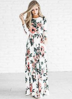 Cotton Floral Long Sleeve Maxi Vintage Dresses (1044708) @