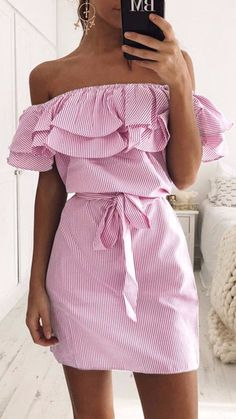 We can't stand this cute stripes. Ruffled dress is all you need girl!