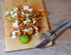 Vegetarische taco´s met pittige bloemkool uit de oven / Vegetarian taco´s with spicy cauliflower