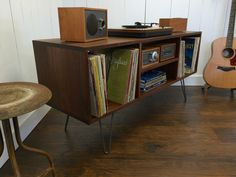 New mid century modern record player console, stereo cabinet with LP album storage featuring black walnut with steel hairpin legs. by scottcassin on Etsy https://www.etsy.com/listing/286832089/new-mid-century-modern-record-player