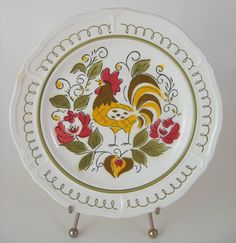 My grandmother had these...ate many a meal off of them...kinda miss them Vintage Rooster Plate, Mikasa Heritage, Terra Stone, Retro 1970's