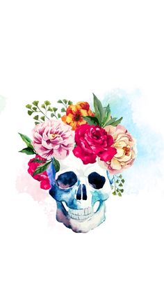 Water colored | Floral | Skull