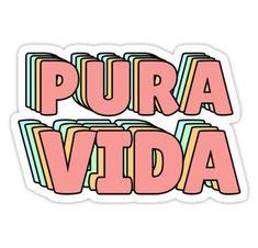 'Pura Vida Pastel' Sticker by lukassfr Homemade Stickers, Diy Stickers, Laptop Stickers, Notebook Stickers, Tumblr Stickers, Aesthetic Stickers, Grafik Design, Sticker Design, Wall Collage