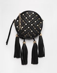 Image 1 ofYoki Fashion Quilted Bag With Tassles