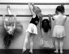 """Some people see this and say """"Aw, how cute!"""" I see this and say """"No hanging on the barre! If it falls we wont be able to have ballet class :-0""""  The joys of being a dance teacher for little kids."""