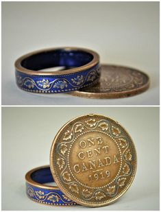 **Free Domestic Shipping for all orders over $50! Use Coupon Code: SHIPFREE50.**  Statement Ring ... Canadian Large One Cent Penny Coin Ring with Blue Nanoceramic:  - Glowing Copper Coin Ring - Your choice of Nano Ceramic Color. (see the third photo) - Comes in a cute box ready for gift giving. - Made to order, just for you.  These rings are handcrafted using a copper George V Canadian Large Cent Penny Coin. Issued from 1911-1920, they feature a beautiful vine and ivy design encircled by…