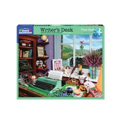 Writer's Desk Puzzle The Great American Novel could be written in a charming spot such as this! With busts of Shakespeare and Robert Burns and a beautiful water view for inspiration, even a litter of mischievous kittens won't distract us from the task at hand.  Tea, biscuits, and a pool of spilled ink await the writer who has wandered off for just a moment. Writers Desk, Robert Burns, New York Public Library, Bookends, Kittens, Puzzle, Novels, Tea Biscuits, In This Moment