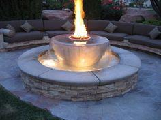 Lieblich Garten, Feuerstelle, Brunnen, Integriert, Modern, Stein, Wasser