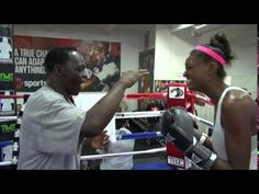 Jeff Mayweather gives Quinn her first boxing lesson Boxing Lessons, Boxing Videos, Channel, Baseball Cards