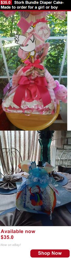 Baby Diaper Cakes: Stork Bundle Diaper Cake- Made To Order For A Girl Or Boy BUY IT NOW ONLY: $35.0