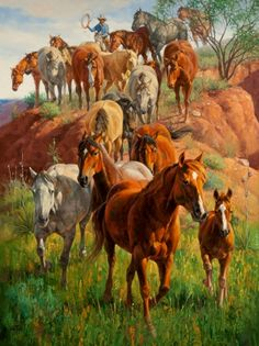 """Ladies First"" Horses oil painting by Artist Jack Sorenson"