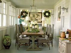 This porch-turned-dining room is effortlessly chic.