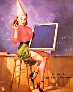 Is This the Right Angle, Professor? (Dunce), 1948 | Gil Elvgren pinup #pinupartsource #elvgren