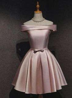 Sexy A Line Pink Satin Short Bridesmaid Dress Off Shoulder Mini Maid Of Honor Gowns ,Sexy Girls Homecoming Party Dress Dama Dresses, Pink Party Dresses, Satin Dresses, Sexy Dresses, Pink Dress, Evening Dresses, Short Dresses, Gowns, Formal Dresses