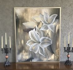 Flower Art Drawing, Acrylic Painting Flowers, Art Deco Paintings, Art Painting Gallery, Lily Painting, Mural Wall Art, Leaf Art, Modern Classic, Painting On Glass