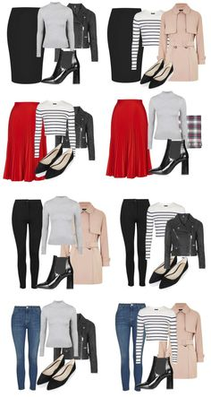 MINI CAPSULE outfit combinations created from a classic capsule wardrobe Source by thecapsuleproj. Capsule Wardrobe Women, Capsule Outfits, Fashion Capsule, Mode Outfits, Fashion Outfits, Travel Outfits, Work Wardrobe Essentials, Travel Wardrobe, Trendy Outfits
