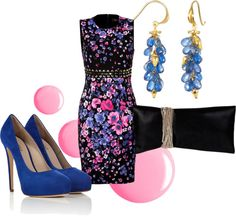 """blue floral"" by anfernee-131 ❤ liked on Polyvore"