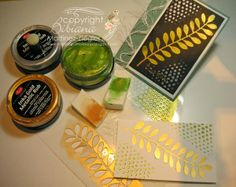 "Stamping with Bibiana: ""Viva Inka Gold"" and ""Frond"" Stencil Boxed Cards! Inka Gold, Art Journal Techniques, Card Making Techniques, Diy Stamps, Polymer Clay Tools, Card Tutorials, Gold Paint, Creative Cards, Cardmaking"