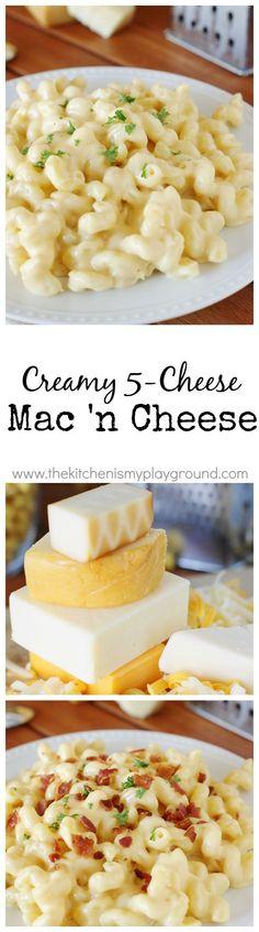 Creamy 5-Cheese Stove Top Macaroni and Cheese www.thekitchenismyplayground.com