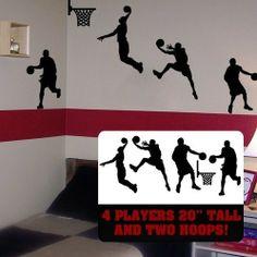 5pcs/lot pallacanestro a parete arte, basket giocatori arredamento della camera, basket slam dunk lettore