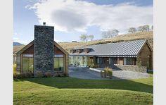 windows, gabled roof, blends well wlandscape