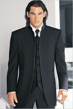 Jean Yves Black Mirage Tuxedo- Rental from Jim's Formalwear- features a satin stand-up collar and satin piping