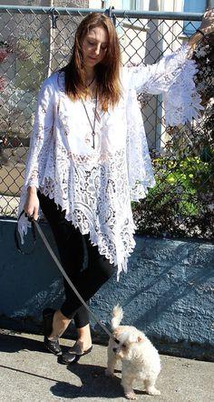 Batenburg Lace Angel Wing Boho Hippie Wedding Dress by LaineeLee