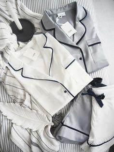 The Blanc White and Cirrus Grey pyjamas with perfect piping, silky and soft Cute Sleepwear, Sleepwear Women, Lingerie Sleepwear, Loungewear, Nightwear, Silk Sleepwear, Cute Pajama Sets, Cute Pajamas, Silk Pajamas