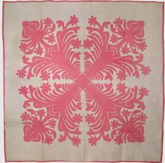 HAWAIIAN APPLIQUE VINTAGE QUILT, rose and white  The symmetrical applique is created with FOLDED paper cutting (scherenschnitte)