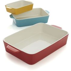Crate & Barrel Set of 3 Potluck Baking Dishes featuring polyvore, home, kitchen & dining, bakeware, crate and barrel, stoneware bakeware, oven to table bakeware and stoneware baking dish