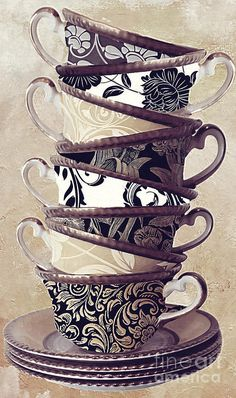 Tea Cups Painting - Afternoon Tea by Mindy Sommers Tea Cup Art, Tea Cups, Vogel Quilt, Afrique Art, Cuppa Tea, Decoupage Paper, Vintage Images, Afternoon Tea, Cup And Saucer